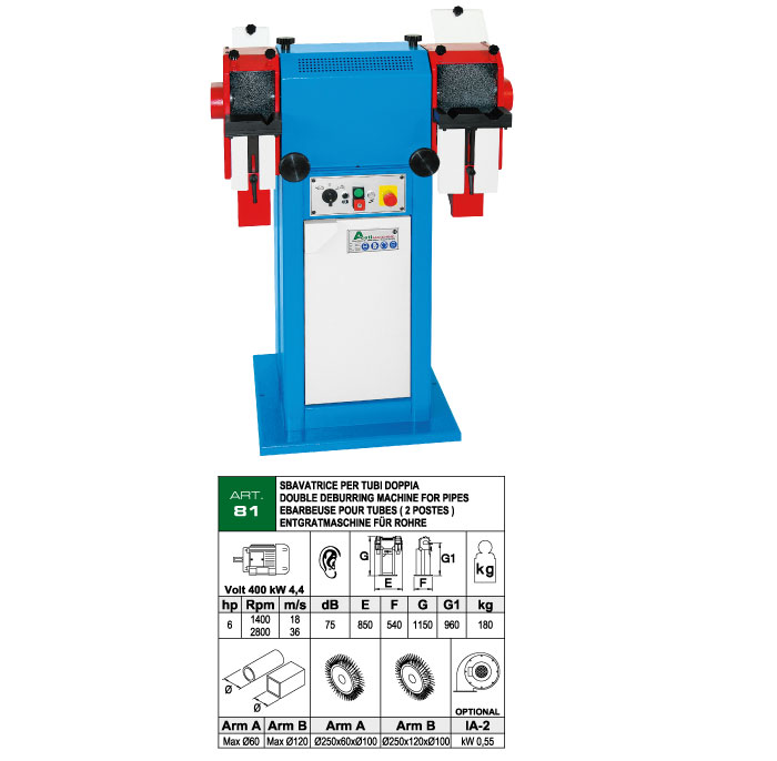 ART.81 - Tube deburring machine with double wire brushes - round tubes, square tubes and profiles max. 120 mm - st719