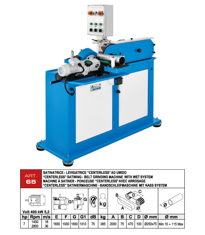 ART.65 - Polishing machine for straight tubes by wet system - st704