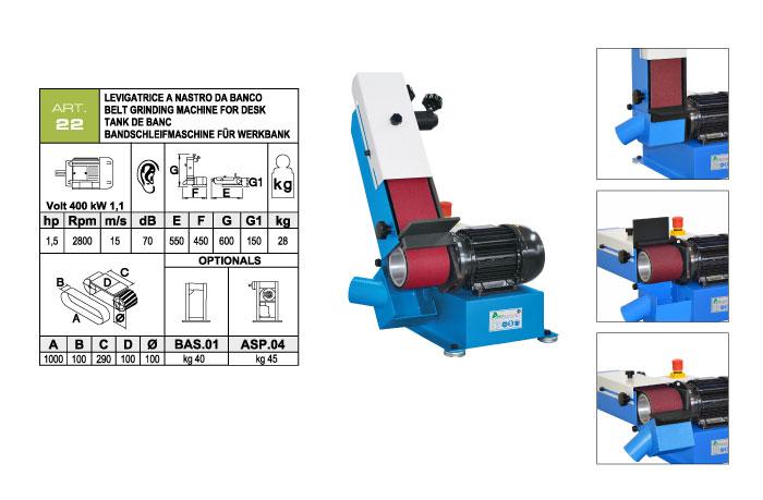 ART.22 - Swing belt bench-mounted grinding machine 100x1000 - worktable 100x290 mm - st739