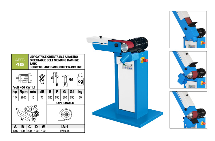 ART.45 - Swing belt grinding machine 100x1000 - worktable 100x290 mm - st740