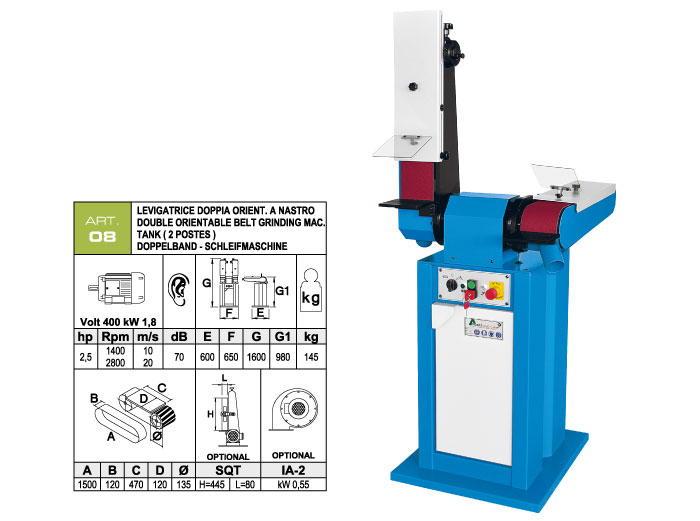 ART.08 - Double swing belt grinding machine 120x1500 - worktables 120x470 mm - st746