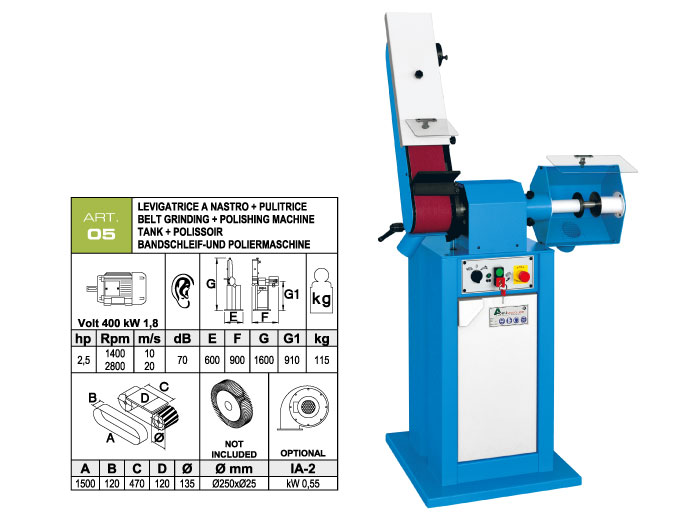 ART.05 - Swing belt grinding machine 120x1500 + Polishing machine Ø250 mm - st749