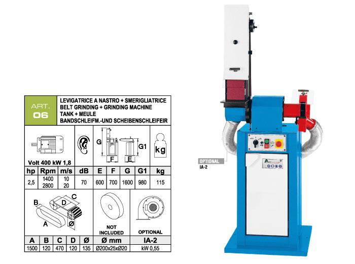 ART.06 - Swing belt grinding machine 120x1500 + Grinding machine Ø200x25xØ20 mm - st750