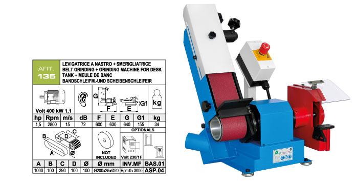 ART.135 - Swing belt bench-mounted grinding machine 100x1000 + Grinding machine Ø200x25xØ20 mm - st752