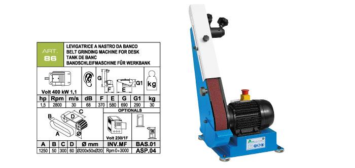 ART.86 - Swing belt bench-mounted grinding machine 50x1250 - grooved rubber wheel Ø200 mm - st753