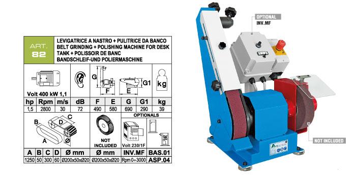 ART.82 - Swing belt bench-mounted grinding machine 50x1250 + Polishing machine Ø200x50 mm - st754