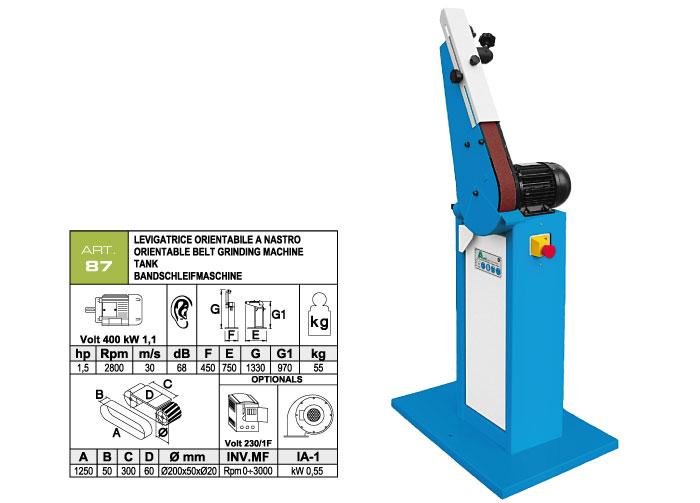 ART.87 - Swing belt grinding machine 50x1250 - grooved rubber wheel Ø200 mm - st756