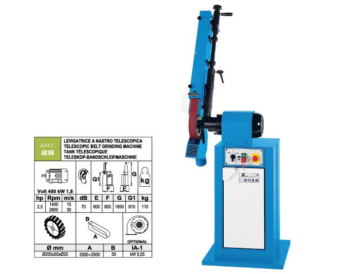 ART.28 - Telescopic swing belt grinding machine 50x2000÷2500 - grooved rubber wheel Ø200 mm - st759