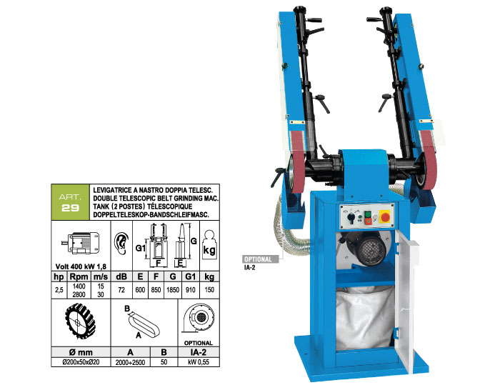 ART.29 - Double telescopic swing belt grinding machine 50x2000÷2500 - grooved rubber wheels Ø200 mm - st760