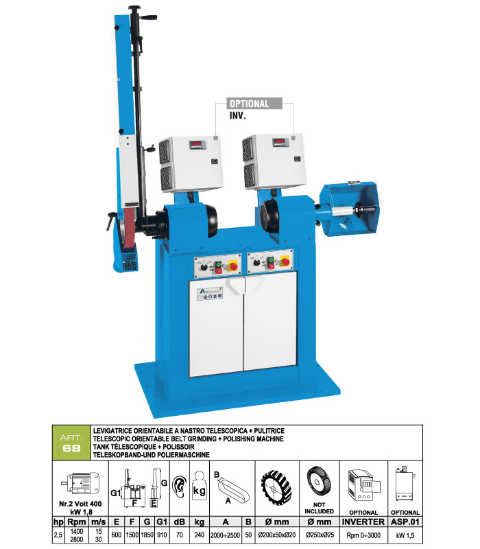 ART.68 - Telescopic swing belt grinding machine 50x2000÷2500 grooved rubber wheel Ø200 + Polishing machine Ø250 mm - st761
