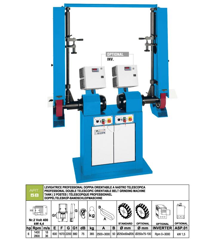 ART.58 - Telescopic swing belt grinding m. 50x2500÷3000 - 2 single shaft motors - grooved rubber wheels Ø250 mm - st764