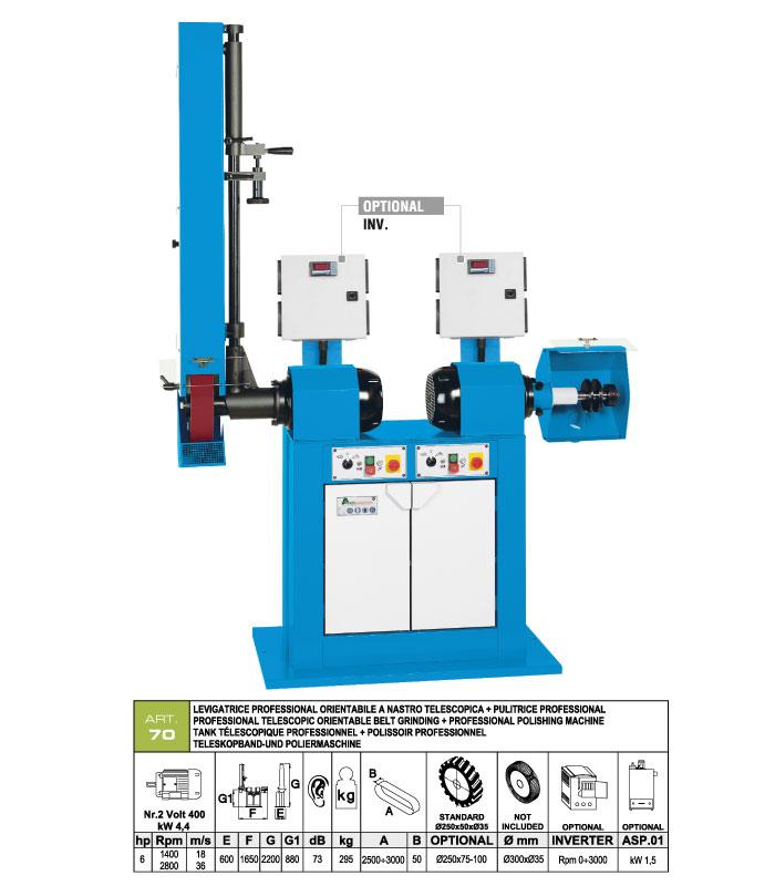 ART.70 - Telescopic swing belt grinding machine 50x2500÷3000 grooved rubber wheel Ø250 + Polishing machine Ø300 mm - st765