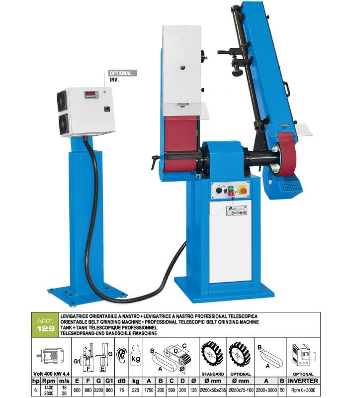 ART.129 - Swing belt grinding machine 200x1750 + Telescopic swing belt grinding machine 50x2500÷3000 mm - st766
