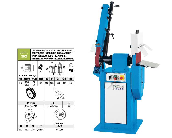 ART.30 - Telescopic swing belt grinding machine 50x2000÷2500 + Disc grinding machine Ø400 mm - st767