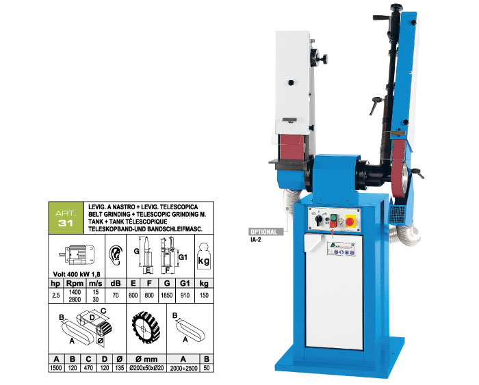 ART.31 - Swing belt grinding machine 120x1500 + Telescopic swing belt grinding machine 50x2000÷2500 mm - st768