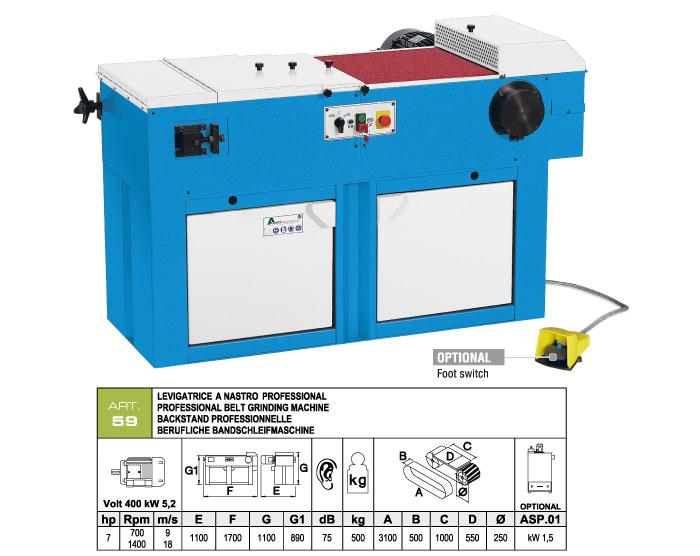 ART.59 - Belt grinding machine 500x3100 - worktable 500x1000 - grooved rubber wheel Ø250 mm - st776