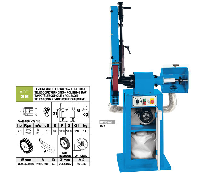 ART.32 - Telescopic swing belt grinding machine 50x2000÷2500 grooved rubber wheel Ø200 + Polishing machine Ø250 mm - st817