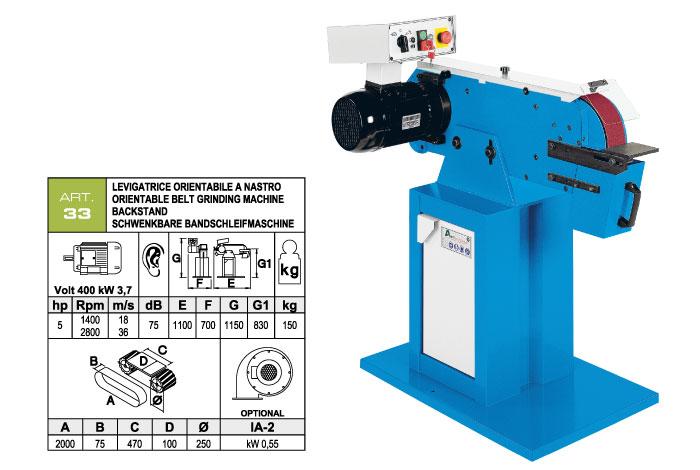 ART.33 - Belt grinding machine 75x2000 - worktable 75x470 - grooved rubber wheel Ø250 mm - st818