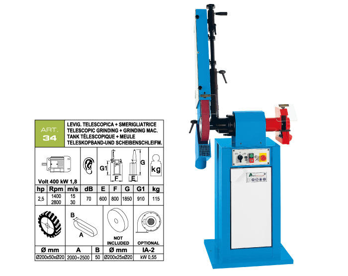 ART.34 - Telescopic swing belt grinding machine 50x2000÷2500 + Grinding machine Ø200x25xØ20 mm - st819