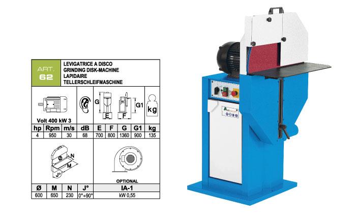 ART.62 - Vertical disc belt grinding machine Ø600 mm - st820