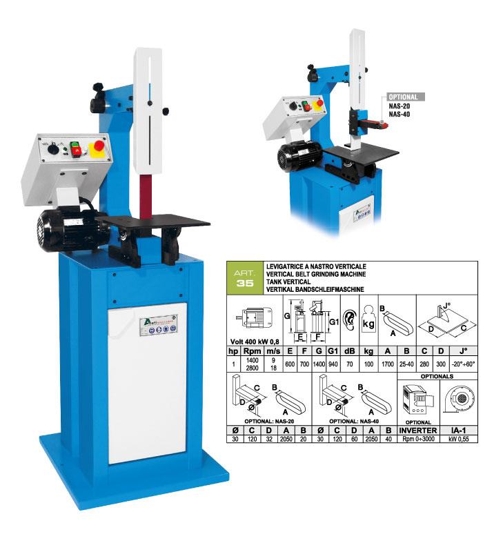 ART.35 - Belt grinding machine with vertical belt 25-40x1700 mm - flexible belt working option - st833