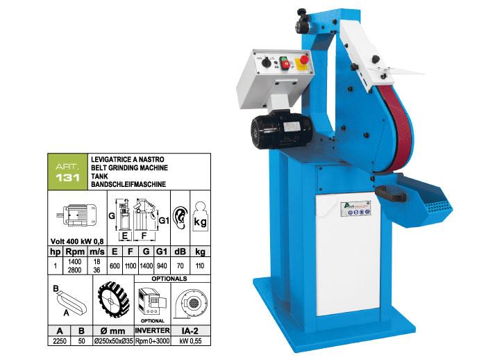 ART.131 - Belt grinding machine 50x2250 - grooved rubber wheel Ø250 mm - st834