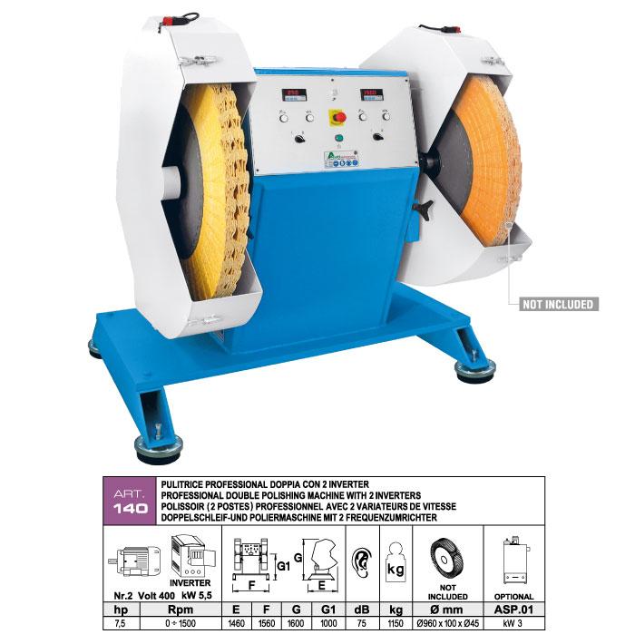 ART.140 - Polisseuse Ø1000 - 2 moteurs arbre simple Ø45 - kW 5,5 (hp 7,5) - 2 variateurs de vitesse pour réglage 0÷1500 Tr/min - st791