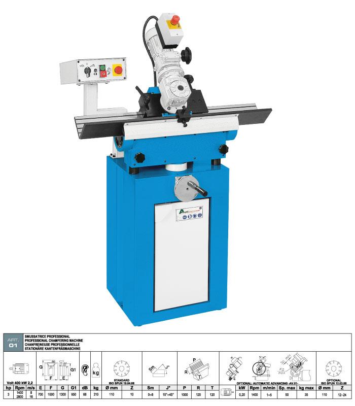 ART.01 - Smussatrice con fresa ad inserti widia - opzione di avanzamento automatico - smusso max. 8 mm - st722
