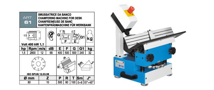 ART.61 - Smussatrice da banco con fresa ad inserti widia - smusso max. 6 mm - st724