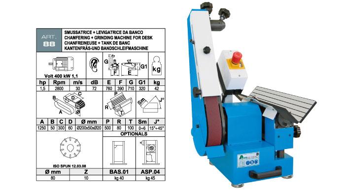 ART.88 - Levigatrice da banco a nastro orientabile 50x1250 + Smussatrice con fresa ad inserti smusso max. 6 mm - st728