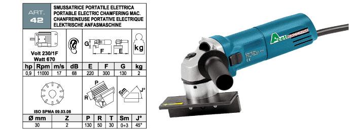 ART.42 - Smussatrice portatile elettrica con fresa ad inserti widia - smusso max. 3 mm - st731