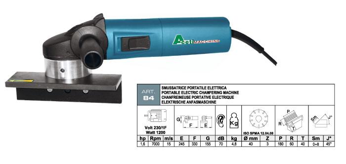 ART.84 - Smussatrice portatile elettrica con fresa ad inserti widia - smusso max. 8 mm - st732