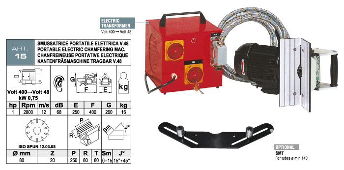ART.15 - Smussatrice portatile elettrica con fresa ad inserti widia - smusso max. 15 mm - st735
