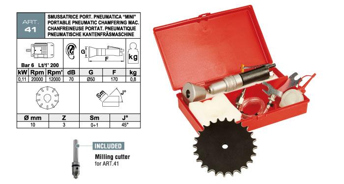 ART.41 - Smussatrice portatile pneumatica - per elementi diritti e sagomati - smusso max. 1 mm - st737