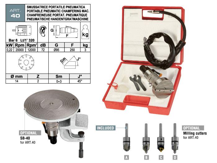 ART.40 - Smussatrice portatile pneumatica - per elementi diritti e sagomati - smusso max. 3 mm - st738