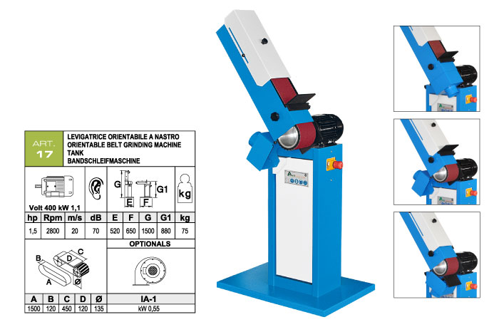 ART.17 - Levigatrice a nastro orientabile 120x1500 - piano di lavoro 120x450 mm - st741