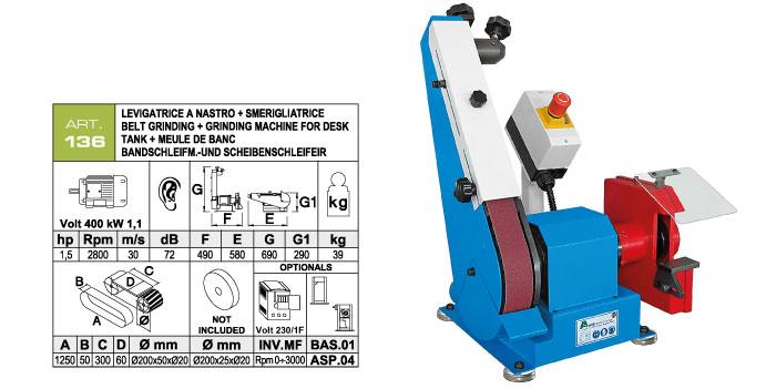 ART.136 - Levigatrice da banco a nastro orientabile 50x1250 + Smerigliatrice a mola Ø200x25xØ20 mm - st755