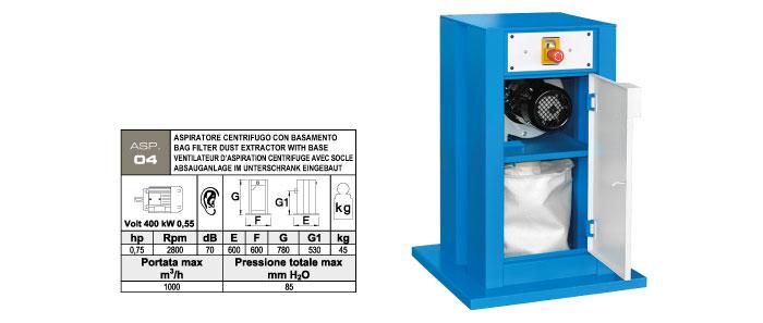 ASP.04 - Aspiratore centrifugo completo di basamento BAS.01 - sacco filtro di raccolta polveri - kW 0,55 - st809