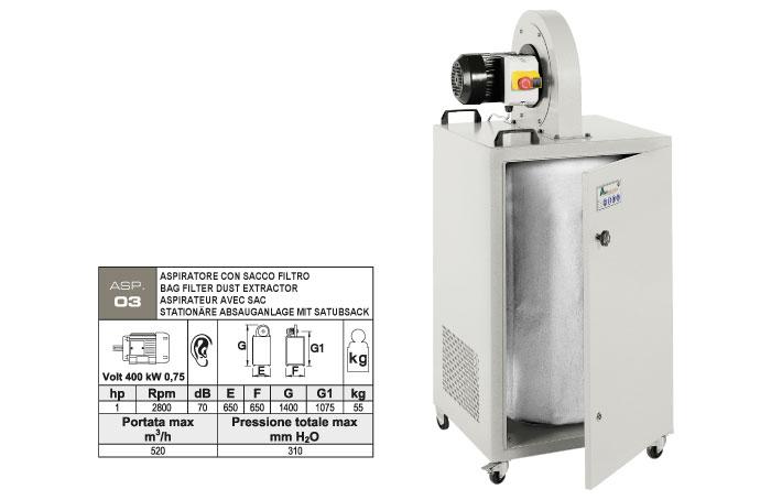 ASP.03 - Aspiratore carrellato con abbattimento polveri centrifugo - sacco filtro polveri - kW 0,75 - st810