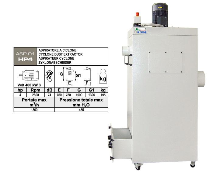 ASP.01-HP4 - Aspiratore per polveri a ciclone - st812