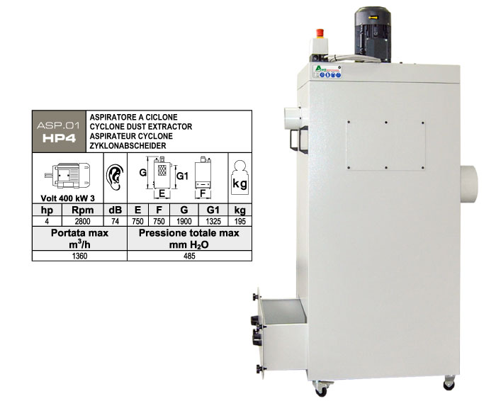 ASP.01-HP4 - Aspiratore per polveri - st812