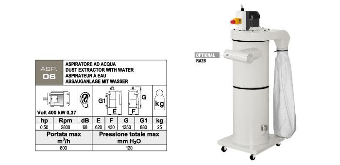 ASP.06 - Aspiratore carrellato - contenitore di raccolta polveri in acciaio con acqua ed olio refrigerante - kW 0,37 - st813