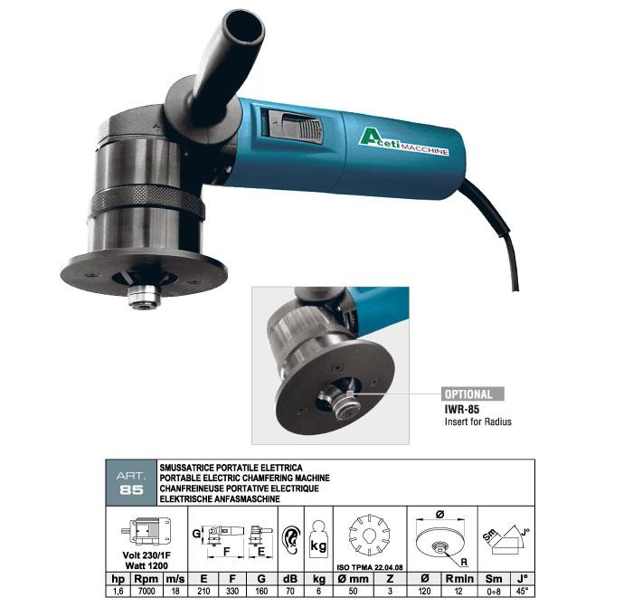 ART.85 - Smussatrice portatile elett. fresa ad inserti widia - indicata per smussatura elementi sagomati - smusso max. 8 mm - st824