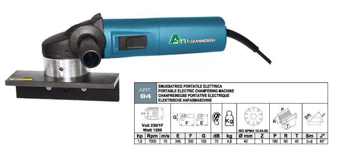 ART.84 - Electric portable bevelling machine with widia inserts milling cutter - max. bevel 8 mm - st732