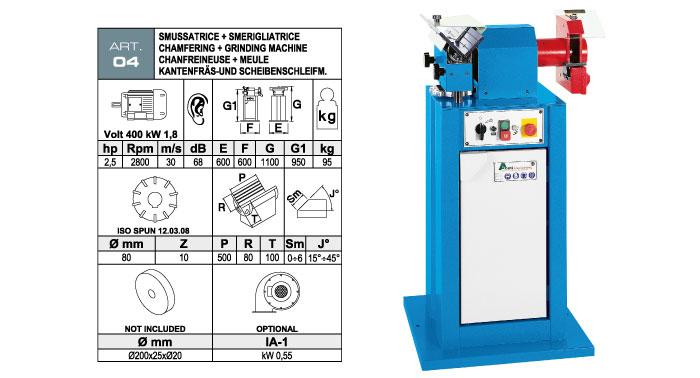 ART.04 - Bevelling machine with widia inserts milling cutter max. bevel + Grinding machine Ø200x25xØ20 mm - st729