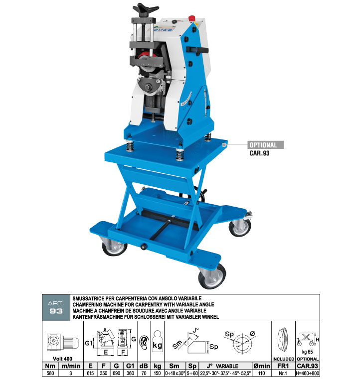 ART.93 - Automatic plate bevelling machine - variable angle - thickness min. 5 ÷ max. 60 mm - max. bevel 18 mm - st720