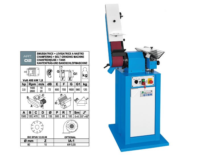 ART.02 - Swing belt grinding machine 120x1500 + Bevelling machine with widia inserts milling cutter max. bevel 6 mm - st726