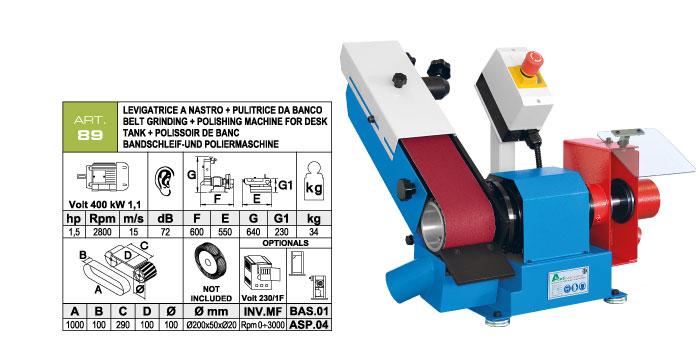 ART.89 - Swing belt bench-mounted grinding machine 100x1000 + Polishing machine Ø200x50 mm - st751