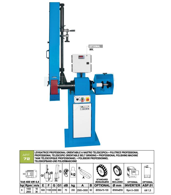 ART.72 - Telescopic swing belt grinding machine 50x2500÷3000 grooved rubber wheel Ø250 + Polishing machine Ø300 mm - st822