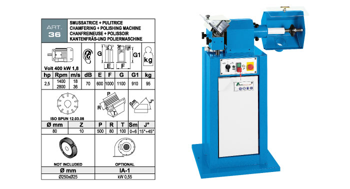 ART.36 - Bevelling machine with widia inserts milling cutter max. bevel 6 + Polishing machine Ø250 mm - st730